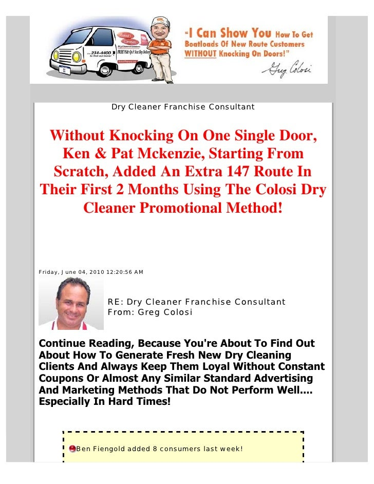 Dry Cleaner Franchise Consultant    Without Knocking On One Single Door,    Ken & Pat Mckenzie, Starting From  Scratch, Ad...