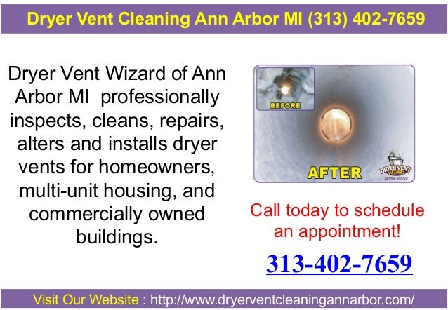 Dryer Vent Cleaning Ann Arbor MI (313) 402-7659  Dryer Vent Wizard of Ann Arbor MI professionally inspects, cleans, repair...