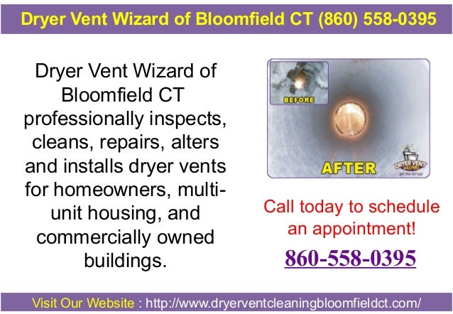 Dryer Vent Wizard of Bloomfield CT professionally inspects, cleans, repairs, alters and installs dryer vents for homeowner...