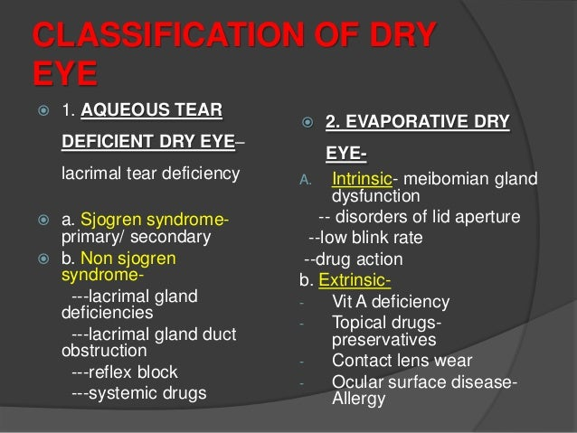 Obstruction of the lacrimal gland ducts Trachoma Cicatricial pemphigoid and mucous membrane pemphigoid Erythema multiforme...
