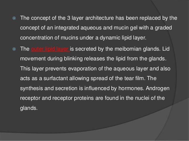  Middle aqueous layer is secreted by the main and accessory lacrimal glands.  Accessory lacrimal glands of Krause, Wolfr...