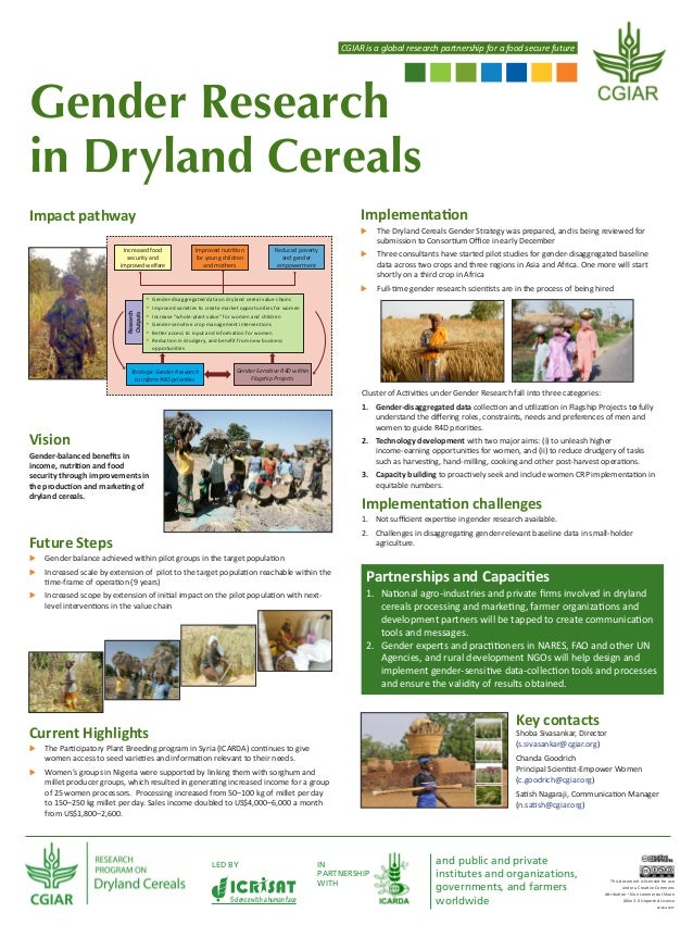 CGIAR is a global research partnership for a food secure future  Gender Research in Dryland Cereals Implementation  Impact...