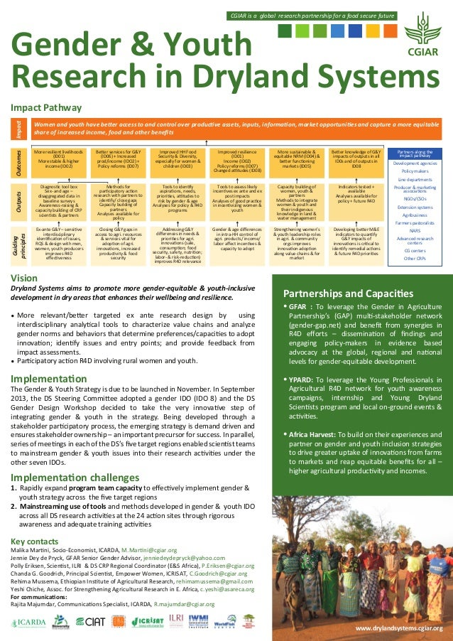 CGIAR is a global research partnership for a food secure future  Gender & Youth Research in Dryland Systems Impact  More r...