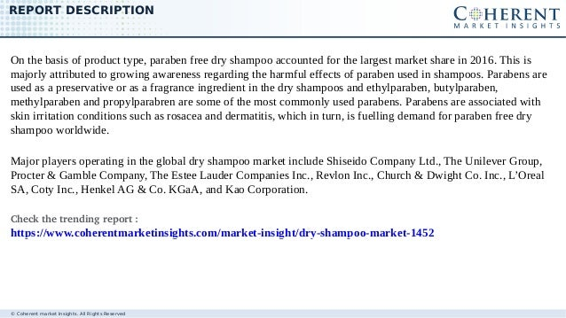 © Coherent market Insights. All Rights Reserved REPORT DESCRIPTION On the basis of product type, paraben free dry shampoo ...