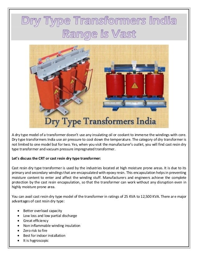 Dry Type Transformers India Range is Vast