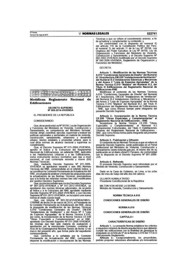 "B f'<Nano  V"""",es9de mlljlOde 2014 NORMAS LEGALES 522741  Modifican Reglamento Nacional de  Edificaciones  DECRETO SUPREMO..."