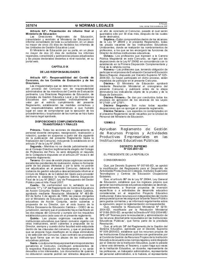 NORMAS LEGALES El Peruano Lima, viernes 9 de noviembre de 2007357074 Artículo 64º.- Presentación de informe final al Minist...