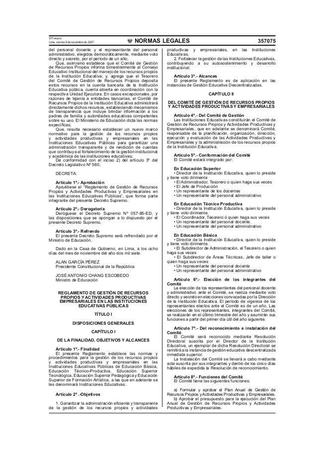 REGLAMENTO DE RECURSOS PROPIOS EN LAS INSTITUCIONES EDUCATIVAS Slide 2