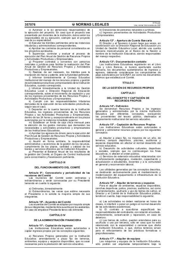 REGLAMENTO DE RECURSOS PROPIOS EN LAS INSTITUCIONES EDUCATIVAS Slide 3