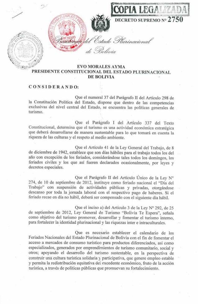 Decreto Supremo sobre feriados en el país.