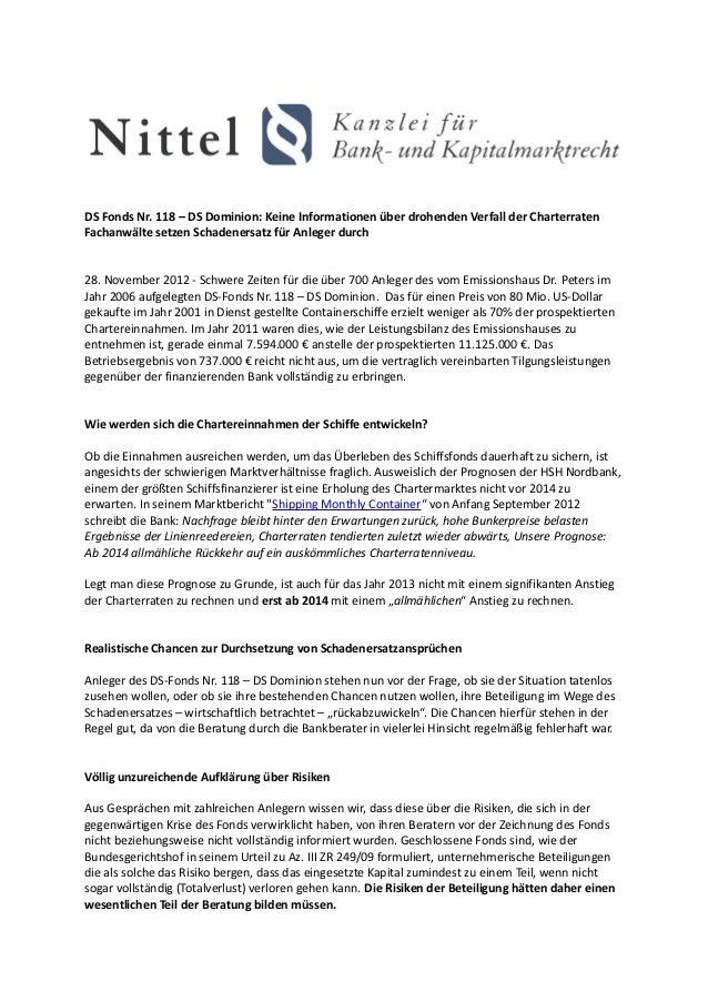 DS Fonds Nr. 118 – DS Dominion: Keine Informationen über drohenden Verfall der CharterratenFachanwälte setzen Schadenersat...