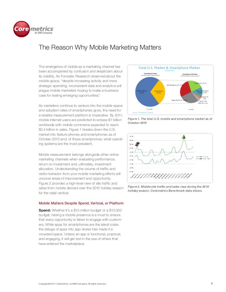 The Reason Why Mobile Marketing MattersThe emergence of mobile as a marketing channel hasbeen accompanied by confusion and...