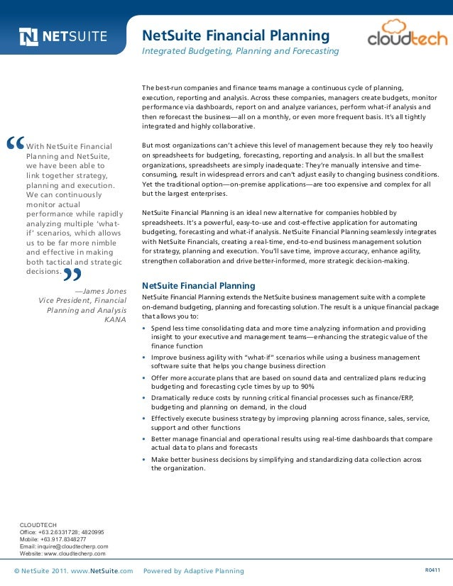 Data Sheet R0411© NetSuite 2011. www.NetSuite.com Powered by Adaptive Planning The best-run companies and finance teams ma...