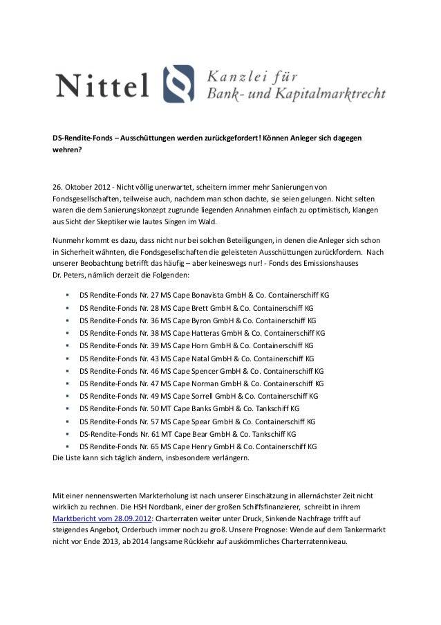 DS-Rendite-Fonds – Ausschüttungen werden zurückgefordert! Können Anleger sich dagegenwehren?26. Oktober 2012 - Nicht völli...