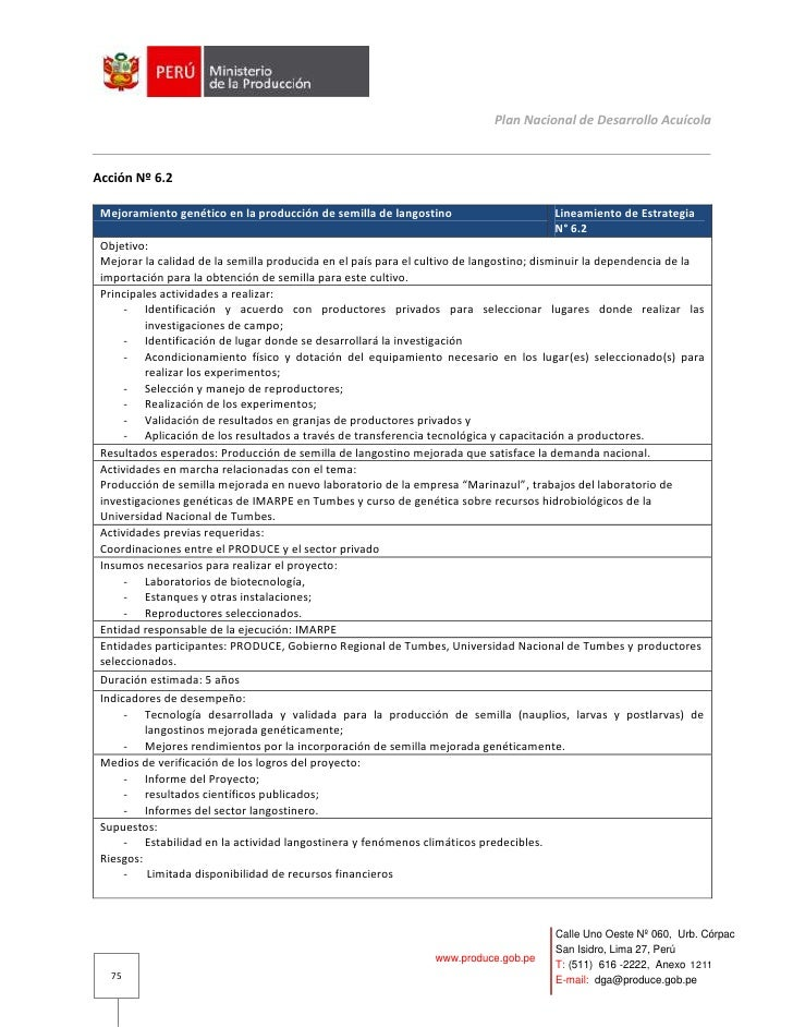 Plan Nacional de Desarrollo Acuícola