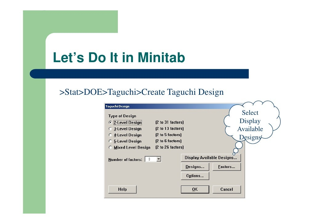 Taguchi Design S N Ratio