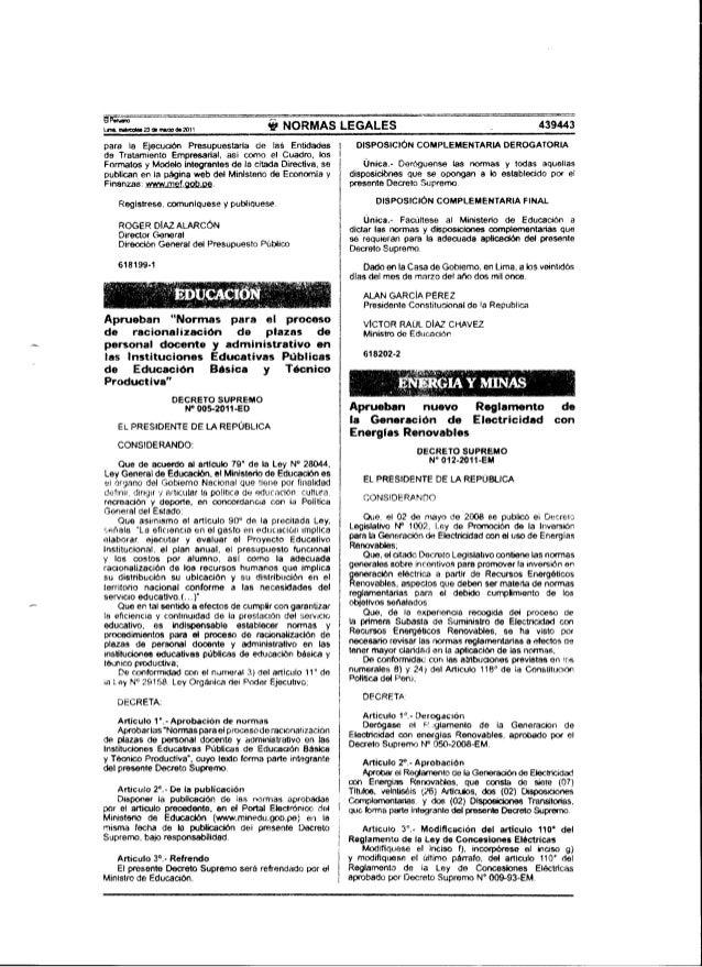 RACIONALIZACIÓN DOCENTE Ds 005 2011