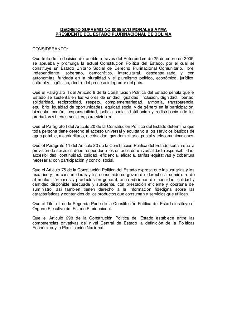 DECRETO SUPREMO NO 0065 EVO MORALES AYMA            PRESIDENTE DEL ESTADO PLURINACIONAL DE BOLIVIACONSIDERANDO:Que fruto d...