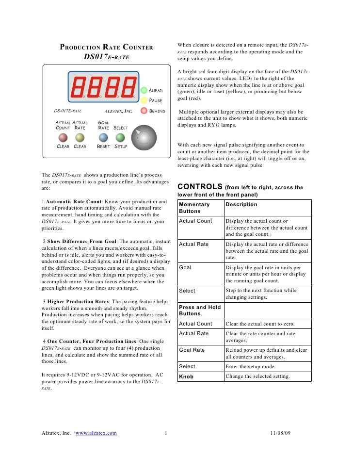 PRODUCTION RATE COUNTER                             When closure is detected on a remote input, the DS017E-               ...
