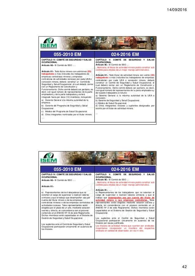 14/09/2016 42 055-2010 EM 024-2016 EM CAPÍTULO IV: COMITÉ DE SEGURIDAD Y SALUD OCUPACIONAL Artículo 60.- El Comité de SSO ...