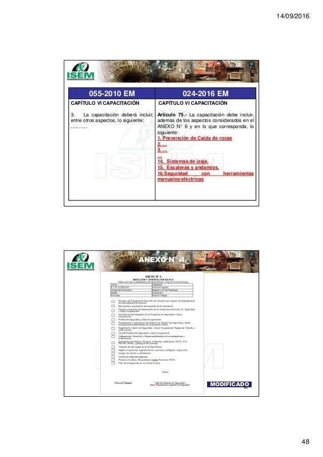 14/09/2016 48 055-2010 EM 024-2016 EM CAPÍTULO VI CAPACITACIÓN 3. La capacitación deberá incluir, entre otros aspectos, lo...
