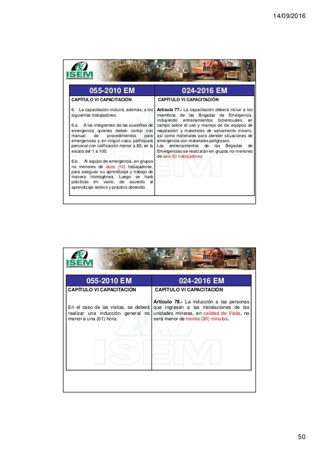 14/09/2016 50 055-2010 EM 024-2016 EM CAPÍTULO VI CAPACITACIÓN 6. La capacitación incluirá, además, a los siguientes traba...