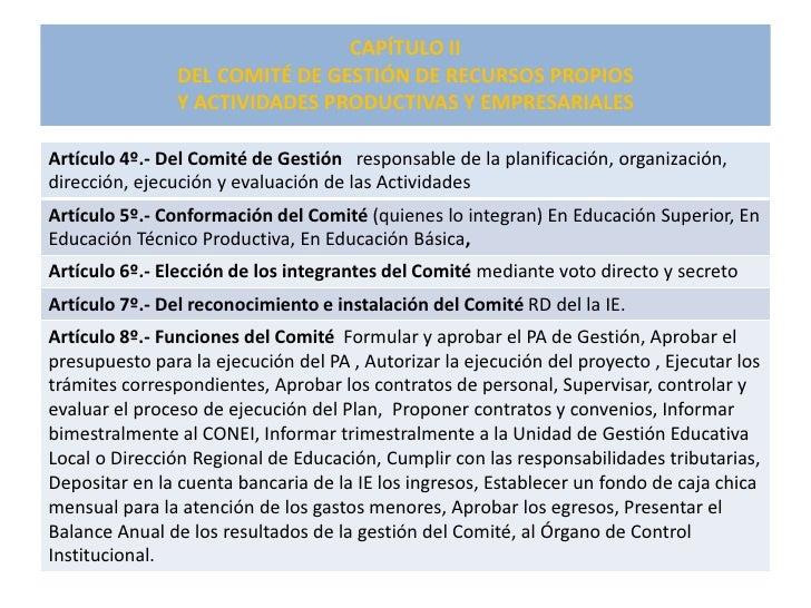 CAPÍTULO II                 DEL COMITÉ DE GESTIÓN DE RECURSOS PROPIOS                 Y ACTIVIDADES PRODUCTIVAS Y EMPRESAR...