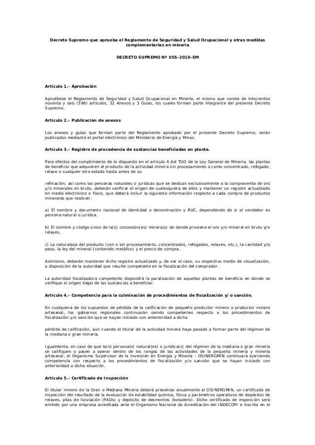 Decreto Supremo que aprueba el Reglamento de Seguridad y Salud Ocupacional y otras medidas complementarias en minería DECR...