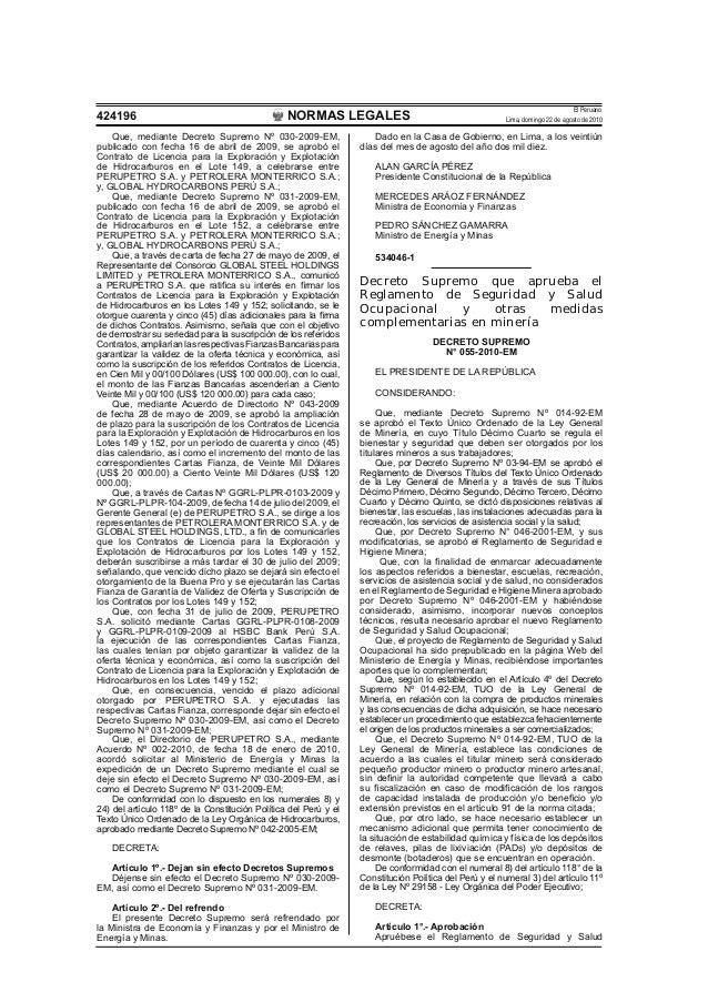 NORMAS LEGALES El Peruano Lima, domingo 22 de agosto de 2010424196 Que, mediante Decreto Supremo Nº 030-2009-EM, publicado...
