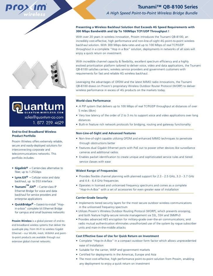 Tsunami™ QB-8100 Series                                                                            A High Speed Point-to-P...