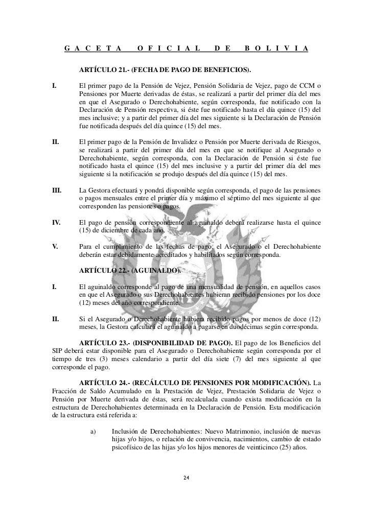 Ds0822 nueva ley reglamentario de pensiones de bolivia - Se cobra la pension el mes de fallecimiento ...