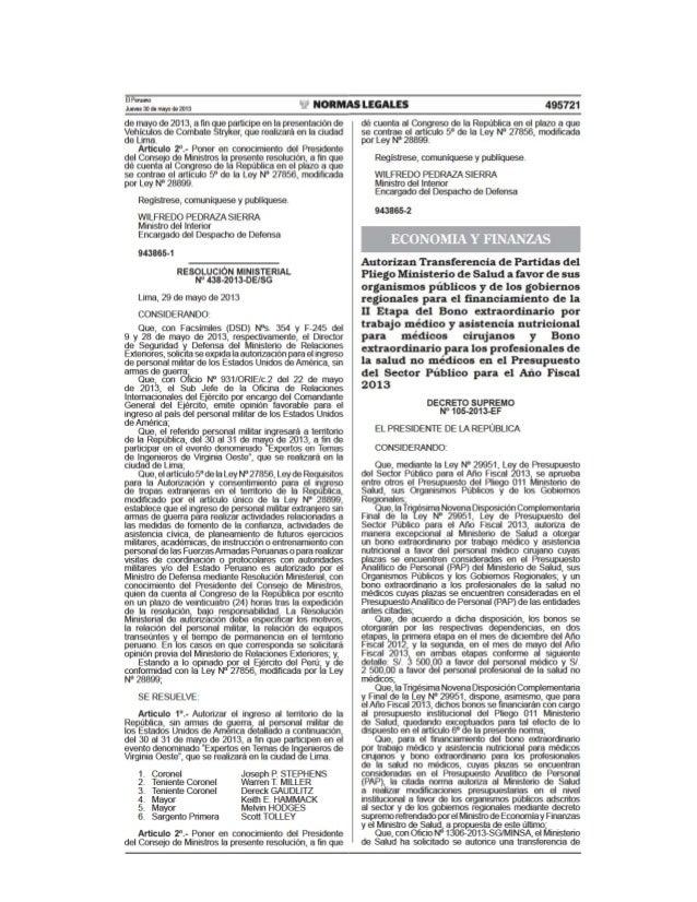 ANEXO DECRETO SUPREMO N° 105-2013-EF QUE AUTORIZA LA TRANSFERENCIA DE PARTIDAS DEL PLIEGO 011 MINISTERIO DE SALUD A FAVOR ...