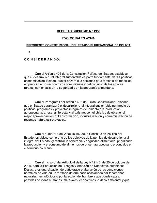 DECRETO SUPREMO N° 1956 EVO MORALES AYMA PRESIDENTE CONSTITUCIONAL DEL ESTADO PLURINACIONAL DE BOLIVIA 1. C O N S I D E R ...