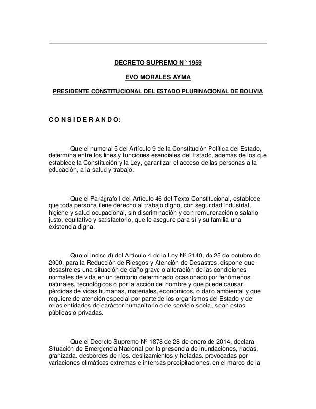 DECRETO SUPREMO N° 1959 EVO MORALES AYMA PRESIDENTE CONSTITUCIONAL DEL ESTADO PLURINACIONAL DE BOLIVIA C O N S I D E R A N...