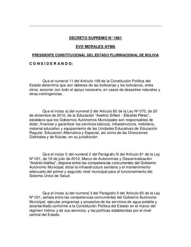 DECRETO SUPREMO N° 1961 EVO MORALES AYMA PRESIDENTE CONSTITUCIONAL DEL ESTADO PLURINACIONAL DE BOLIVIA C O N S I D E R A N...
