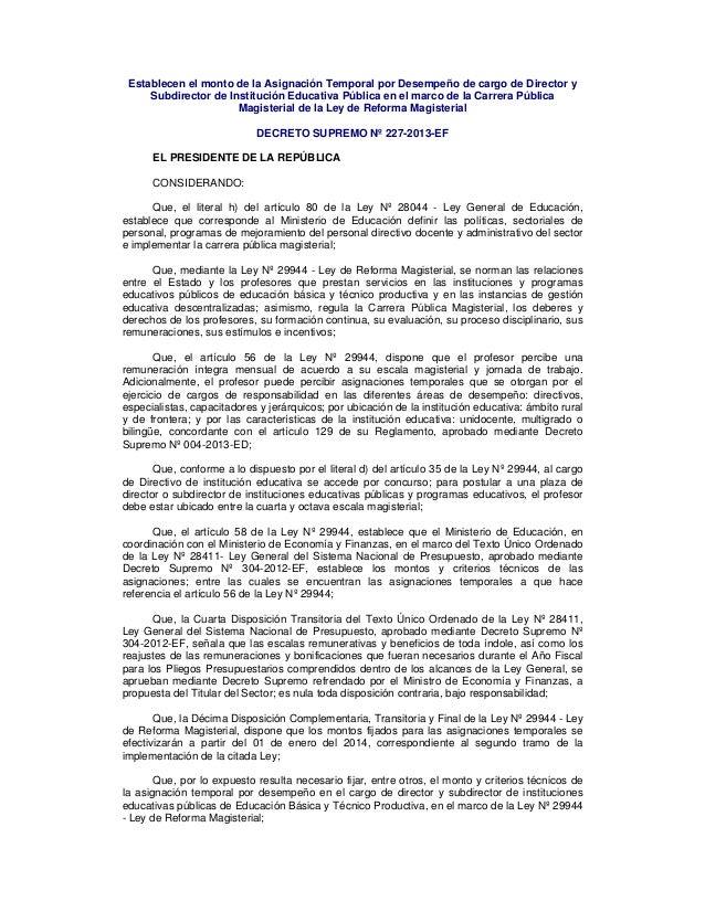 Establecen el monto de la Asignación Temporal por Desempeño de cargo de Director y Subdirector de Institución Educativa Pú...