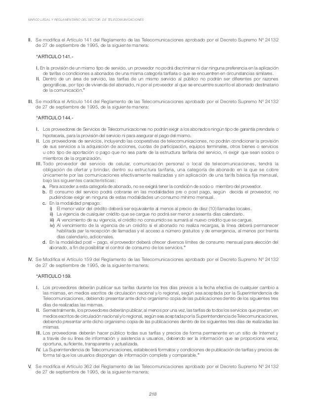 MARCO LEGAL Y REGLAMENTARIO DEL SECTOR DE TELECOMUNICACIONES 218 II.  Se modifica el Artículo 141 del Reglamento de las T...