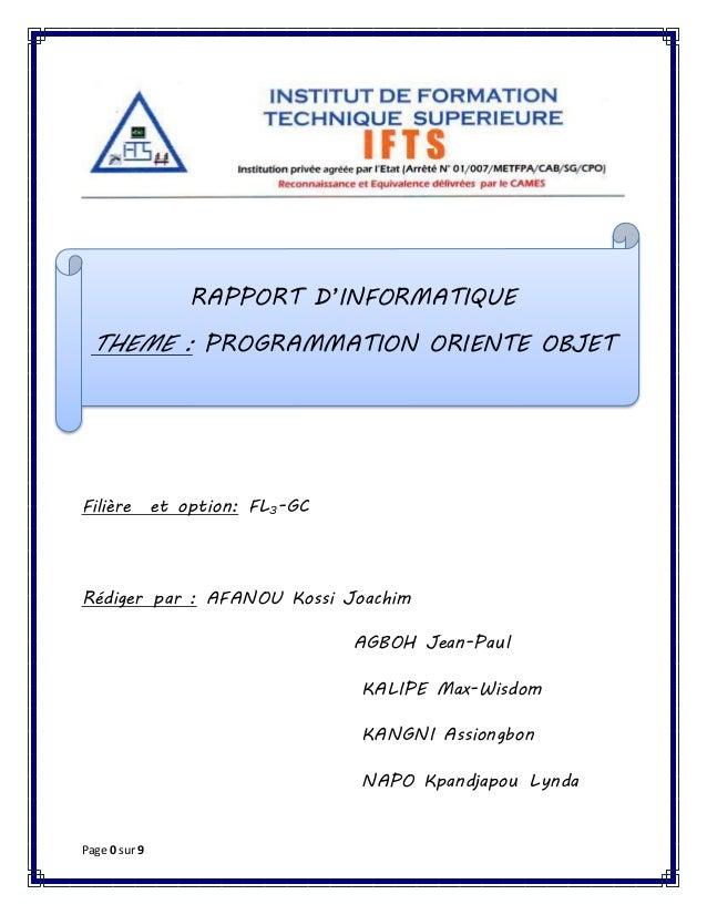 Page 0 sur 9 Filière et option: FL3-GC Rédiger par : AFANOU Kossi Joachim AGBOH Jean-Paul KALIPE Max-Wisdom KANGNI Assiong...