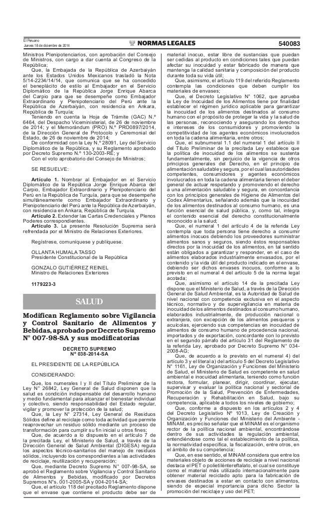 El Peruano Jueves 18 de diciembre de 2014 540083 Ministros Plenipotenciarios, con aprobación del Consejo de Ministros, con...