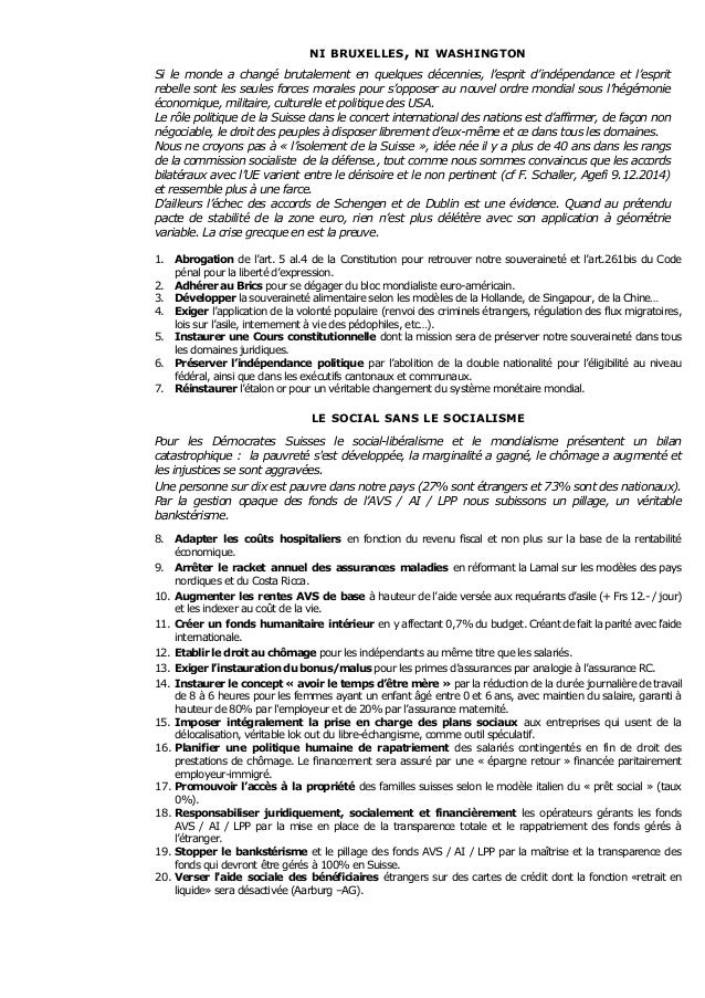 DEMOCRATES SUISSES - 95 mesures politiques  Slide 2
