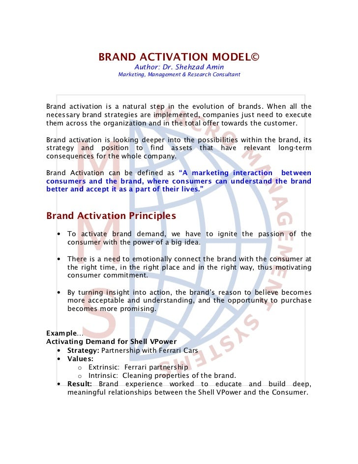 BRAND ACTIVATION MODEL©                          Author: Dr. Shehzad Amin                     Marketing, Management & Rese...