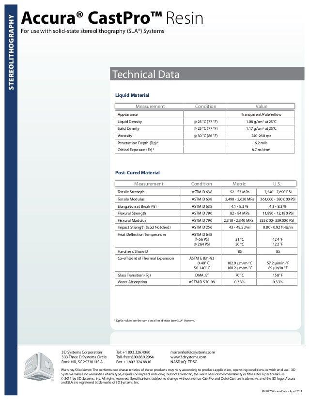 Accura CastPro SLA Resin material properties (EN)