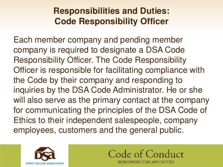 Dsa code of conduct responsibilities and duties - Ethics compliance officer job description ...