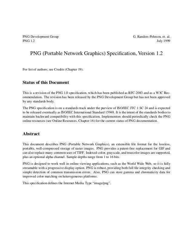PNG Development Group                                                             G. Randers-Pehrson, et. al.PNG 1.2      ...