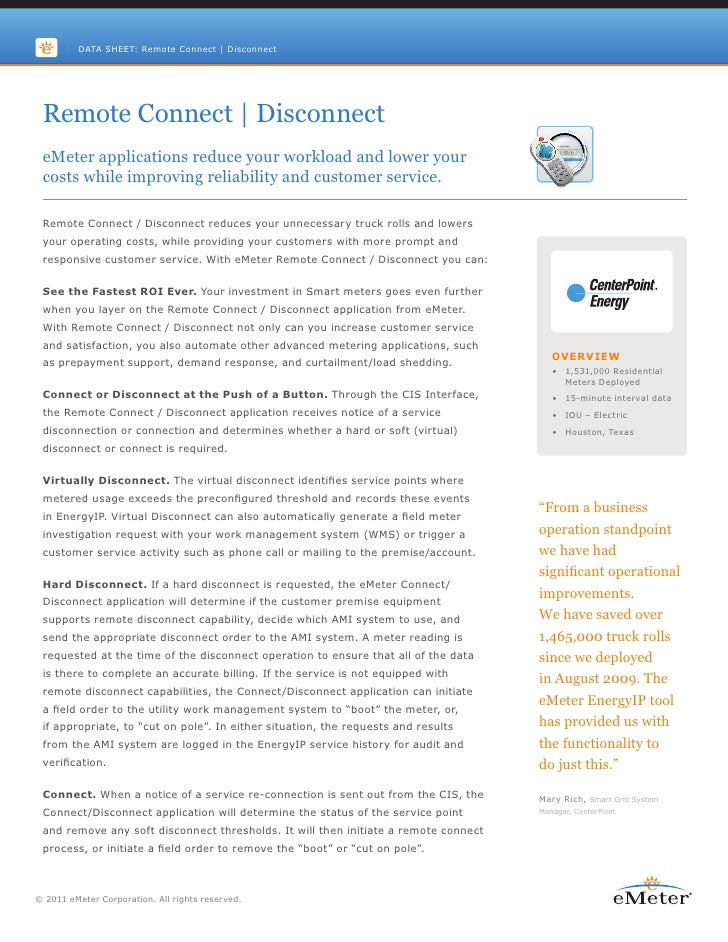 DATA SHEET: Remote Connect | Disconnect Remote Connect | Disconnect eMeter applications reduce your workload and lower you...