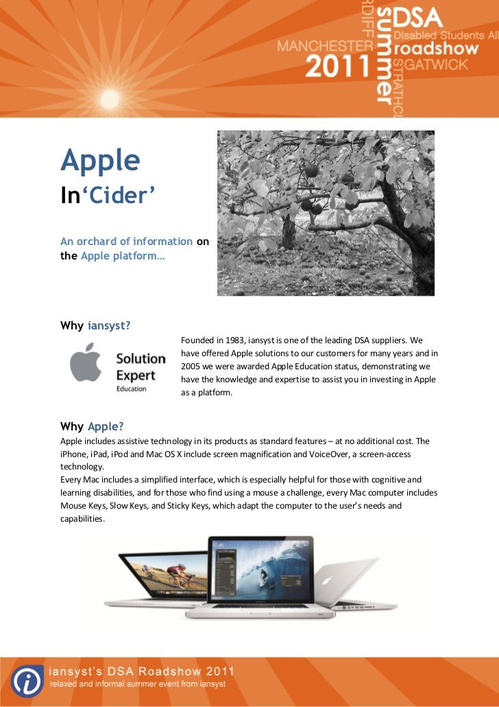 AppleIn'Cider'An orchard of information onthe Apple platform…Why iansyst?                                Founded in 1983, ...
