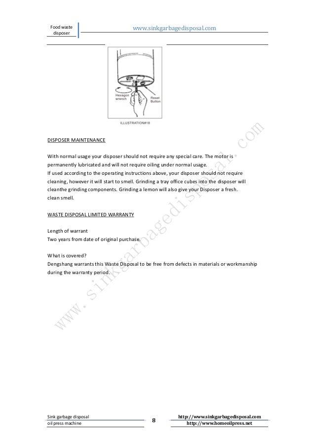 Dsb 560food Waste Disposal Instruction