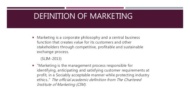 academic definition of marketing