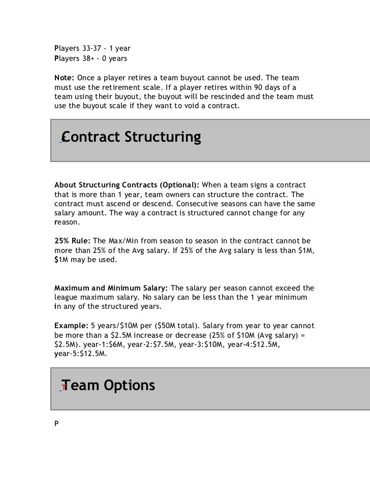 PPlayers 33-37 - 1 yearPlayers 38+ - 0 yearsPNote: Once a player retires a team buyout cannot be used. The teammust use th...