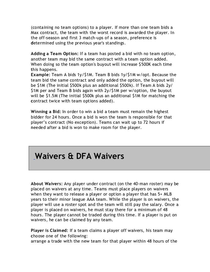 (containing no team options) to a player. If more than one team bids aMax contract, the team with the worst record is awar...